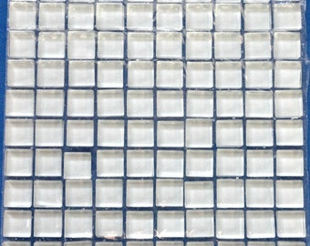 100 (10mm) White MINI Crystal Glass Mosaic Tiles 3/8 in.//Mosaic Supplies//Mosaic//Crafts