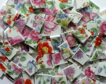 100 Colorful Wildflowers Vintage China Mosaic Tiles with Gold Filigree //Mosaic Supplies//Mosaic//Broken Dish