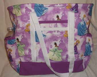 Disney Princesses Tote Bag, Diaper Bag, Carry-On Bag, Book Bag