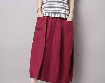 Summer Maxi skirt Long Linen Skirt In Rose Red (more colour and size choice)