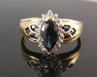 14K Large Size 12 - 14K Blue Green Spinel & Diamond Ring Signed LGL - Leer Gem Ltd