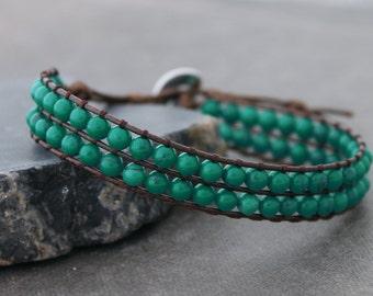 Chrysocolla Double Roll Band Beaded Bracelets