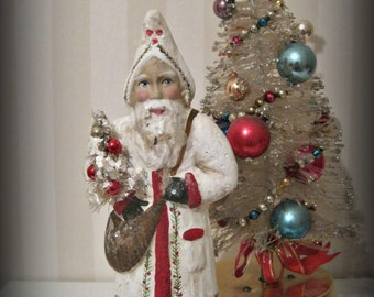 Santa Claus- Belsnickel- papier mache- figurine- folk art doll-hand made doll- Christmas