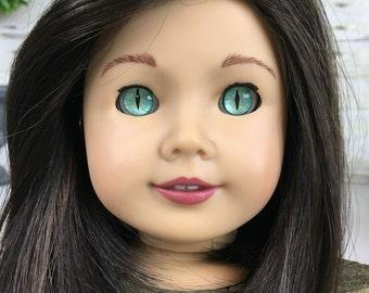 "Custom American Girl Eyes ""Green Cat"""