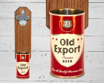 Old Export Wall Mounted Bottle Opener with Vintage Beer Can Cap Catcher
