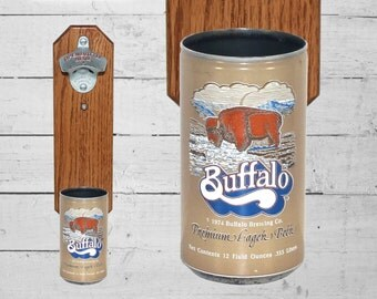 Buffalo Wall Mounted Bottle Opener with Vintage California Beer Can Cap Catcher - Gift for Groomsmen