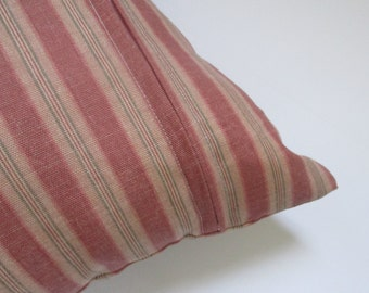 Island Striped Zippered Pillow Cover with Salmon Pink, Tan, and Green Stripes