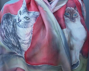 Silk scarf wiht two cat portraits. The pictures of your cats painted on pure silk (scarf of wall hanging), made to order from your photos.