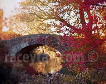 Central Park Print, Red, Fall in New York Photography, Rustic, Orange, Central Park Bridge Autumn Art