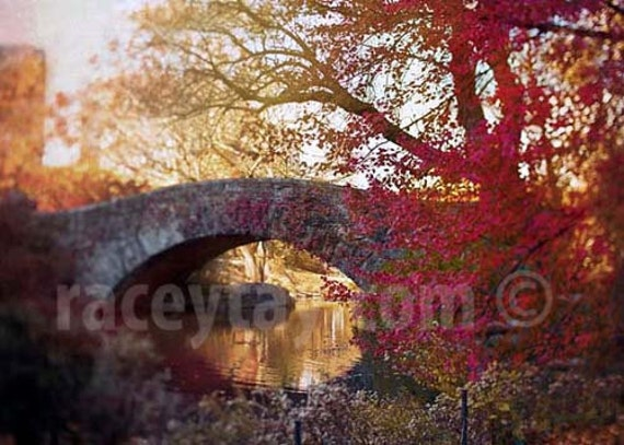 Central Park Print, Red, Fall, New York Photography, Rustic, Central Park Bridge, Orange, A Song of Red