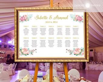 Watercolor Seating Chart, Printable Seating Chart, Wedding Seating Chart, Guest Seating Chart, Watercolor Floral, Calligraphy, jadorepaperie
