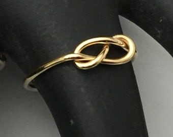 Set of 3 rings, Spring Sale Etsy jewelry, knot ring, infinity knot, 14kt gold filled, handmade, 18g
