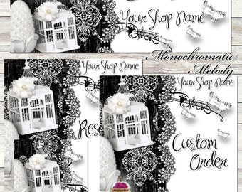 "New Sizes! Etsy Shop Set ""Monochromatic Melody"" One-of-a-kind images - black, white, elegant, birdcage, antiques, damask, graphics, branding"