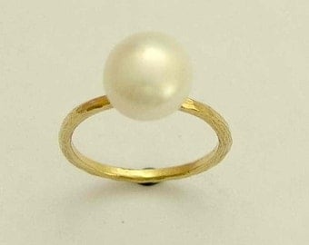 Solid yellow gold engagement ring, pearl ring, hammered yellow gold ring, stacking ring, skinny ring, June birthstone ring - Young love.