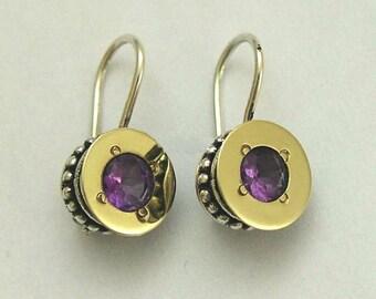 Yellow gold earrings, two tone earrings, purple amethyst earrings, mixed metal earrings, sterling silver earrings - Amethyst Drums - E0288X