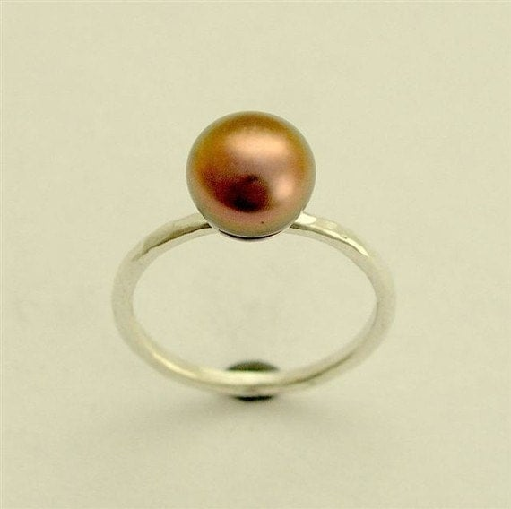Sterling Silver Ring, engagement ring, bronze pearl ring, hammered Tahitian pearl ring, thin silver ring, simple ring- Young love. R1533-2