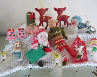 Vintage Christmas Ornaments Large Lot of 18 Flocked Deer Elf Spun Heads Japan