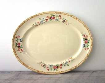 Vintage Oval China Platter Yellow with Floral Design Johnson Bros England New Victorian