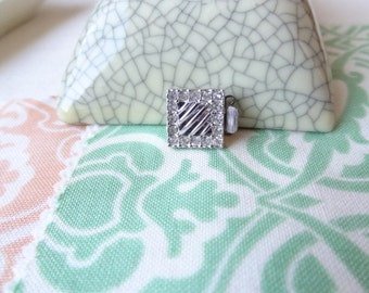 Vintage Rhinestone Clasp Square Clasp with Filigree Middle Design. 1/2 Inch Two Strand CL6