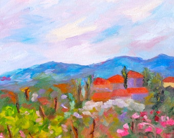 Custom Landscape Commission Your Own Modern Impressionist Original Oil Painting by Rebecca Croft Studios - Many Sizes