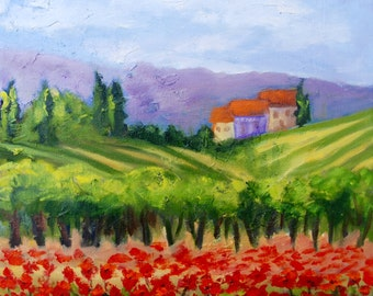 Tuscany Vineyard Landscape Modern Impressionist Oil Painting by Rebecca Croft