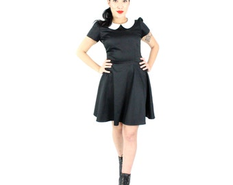 Black Peter Pan Collared Dress / Wednesday Adams Dress
