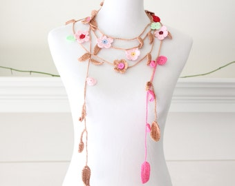 Crochet Tan, Pink, blue, Red Lariat, Scarf, Necklace, Scarflette