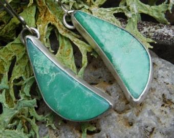 Green Tanzanian Chrysoprase  and Sterling Silver Dangle Earrings