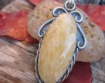 Sunny Yellow Calcite and Sterling Silver Necklace