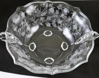 Fostoria Chintz Etch No 338 on a 10.5 Inch Baroque No. 2496 Crystal Blank, Flame Handled Bowl