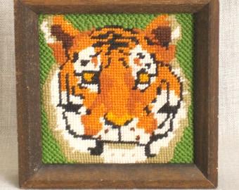Tiger Needle Point, Needle Point, Big Cats, Felines, Jungle Animals, Stitch Work, Needlework, Animals, Handmade, Hand Sewn, Cat Lovers, Art