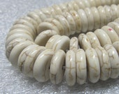 Agate Beads 12 x 4mm Dirty White Shiny Smooth Agate Saucers - 16 Pieces