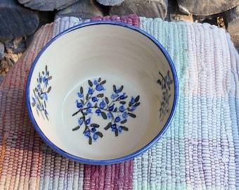 Blueberry design handmade pottery bowl - medium ceramic bowl - northwoods style bowl - ceramic serving bowl - pottery bowl - bb110811