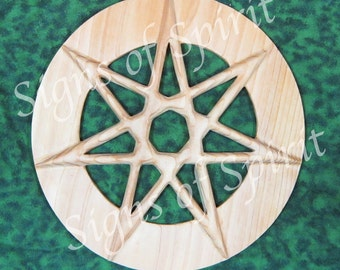 Seven Pointed Fairy Star of Enchantment, Wide Band, Wiccan Elven Star-Kabbalah Sphere of Netzach