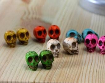 2 howlite skulls - choose your color