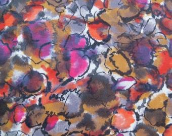 Vintage orange pink purple abstract Print Fabric 3 yards