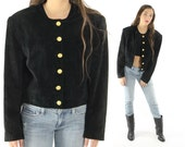 Vintage 80s Suede Jacket PAOLO GUCCI Black Leather Cropped Blazer 1980s
