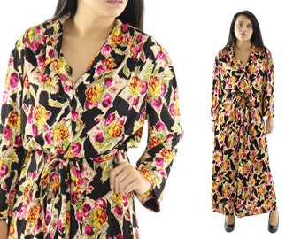 60s Lounge Wear Maxi Dress Dressing Gown Black Floral Long Sleeves Robe Swimsuit Coverup Womens Vintage Fashion 1960s Large L XL