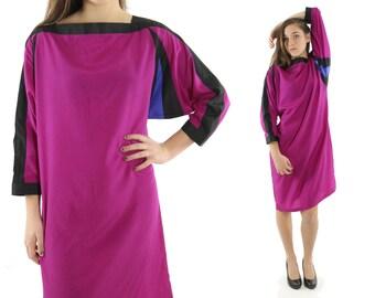 Vintage 80s Batwing Dress Long Dolman Sleeve Fuchsia Pink Dress Color Block 1980s Medium M