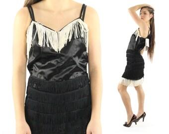 Vintage 60s Flapper Dress Black Satin White Fringe Great Gatsby Sleeveless Mini Dress 1960s Medium M Large L