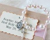 First  Holy Communion ROSARY BRACELET in personalized  box - catholic -  baptism - christening - religious - rosary inspired pearl bracelet