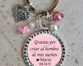 Mother of the Groom Gift, Thank You for raising the Man of my Dreams in Spanish Keychain, Gift for Mother in Law
