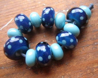 Inky Blue and Turquoise Polkas Lampwork Beads, SRA, UK Seller
