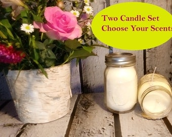 Soy Candle Set of 2, Scented Candles, 16oz Candles, Mason Jar Candle Gift Set, Vegan Candle Set