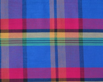 Vintage Fabric - Blue Pink Yellow Green Plaid - 2 yards