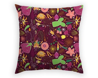 Throw Cushion Decorative Pillow Square 17x17 Inch Botanical Print Botany Cactus Flowers Green Crimson Yellow Pink Anne Waters Design Bondi