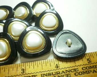 12 Buttons Black Gold with Pearly center -  1-1/4 each - 3 part snap together .