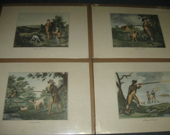 Vintage Set 4 Prints British Field Sport Hunting Partridge Shooting Edward Orme