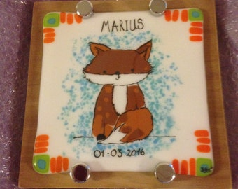 Personalized Baby Name Plaque Sign 25CM X25 CM Fused Glass Handmade