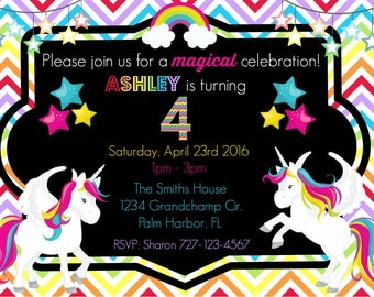 Magical Rainbow Unicorns Birthday Invitation/invite - Custom - Printable